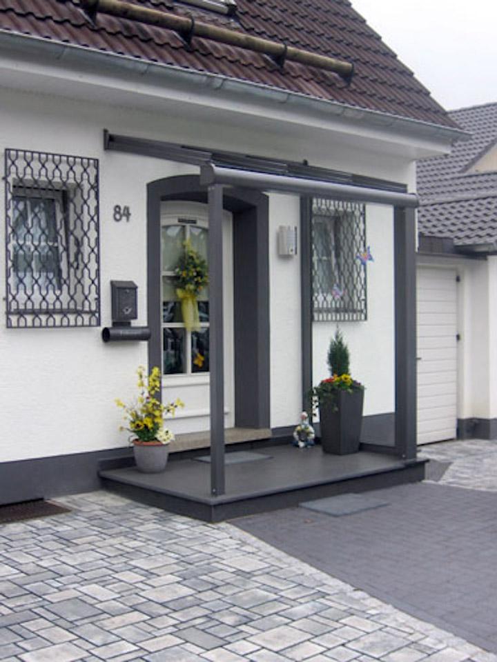 Vordach mit st tzpfeilern metallbau hunold - Vordach mit seitenwand ...