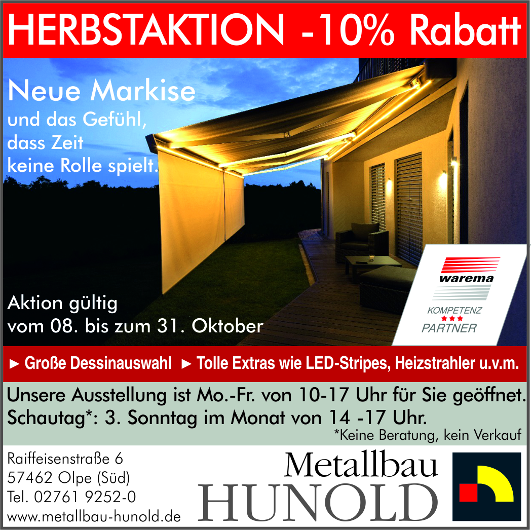 Herbstaktion 2018 – Markisen